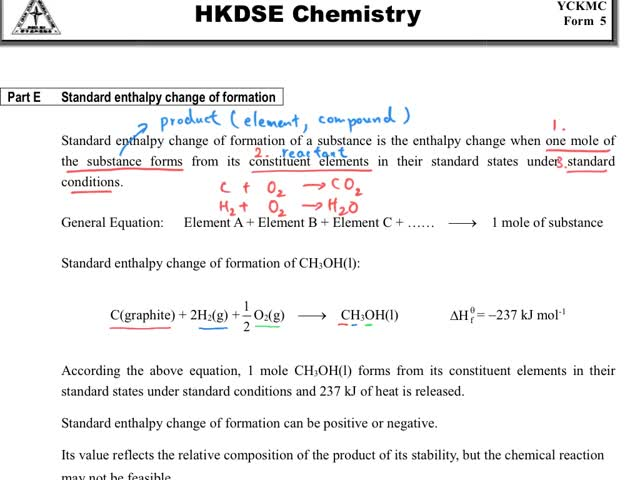 Chemistry Tutorial Ch34 7 Definition Of Standard Enthalpy Change Of